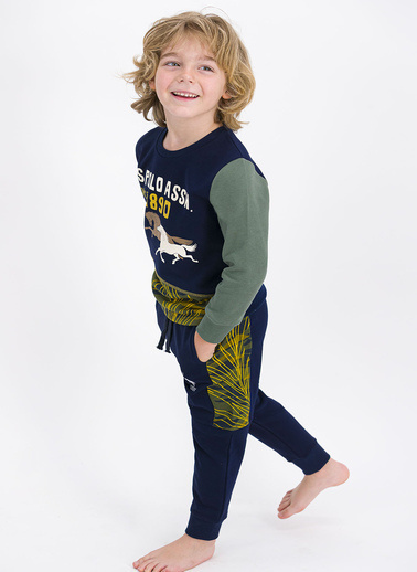 U.S. Polo Assn. Lisanslı Koyu Indigo Erkek Çocuk Eşofman Takımı Lacivert